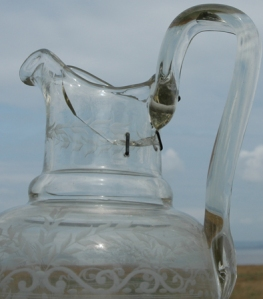 glass water jug.