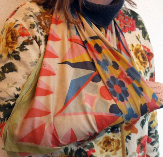 art deco silk scarf