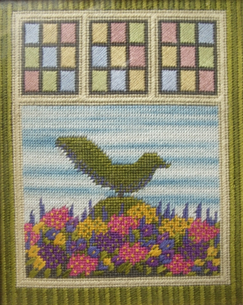 topiary bird with spring flowers