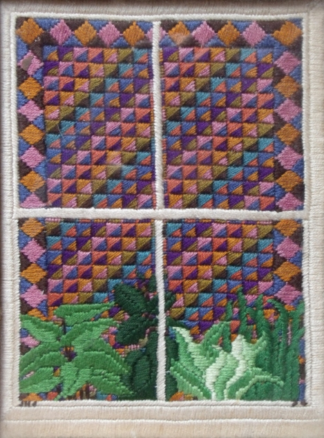 embroidered patchwork window
