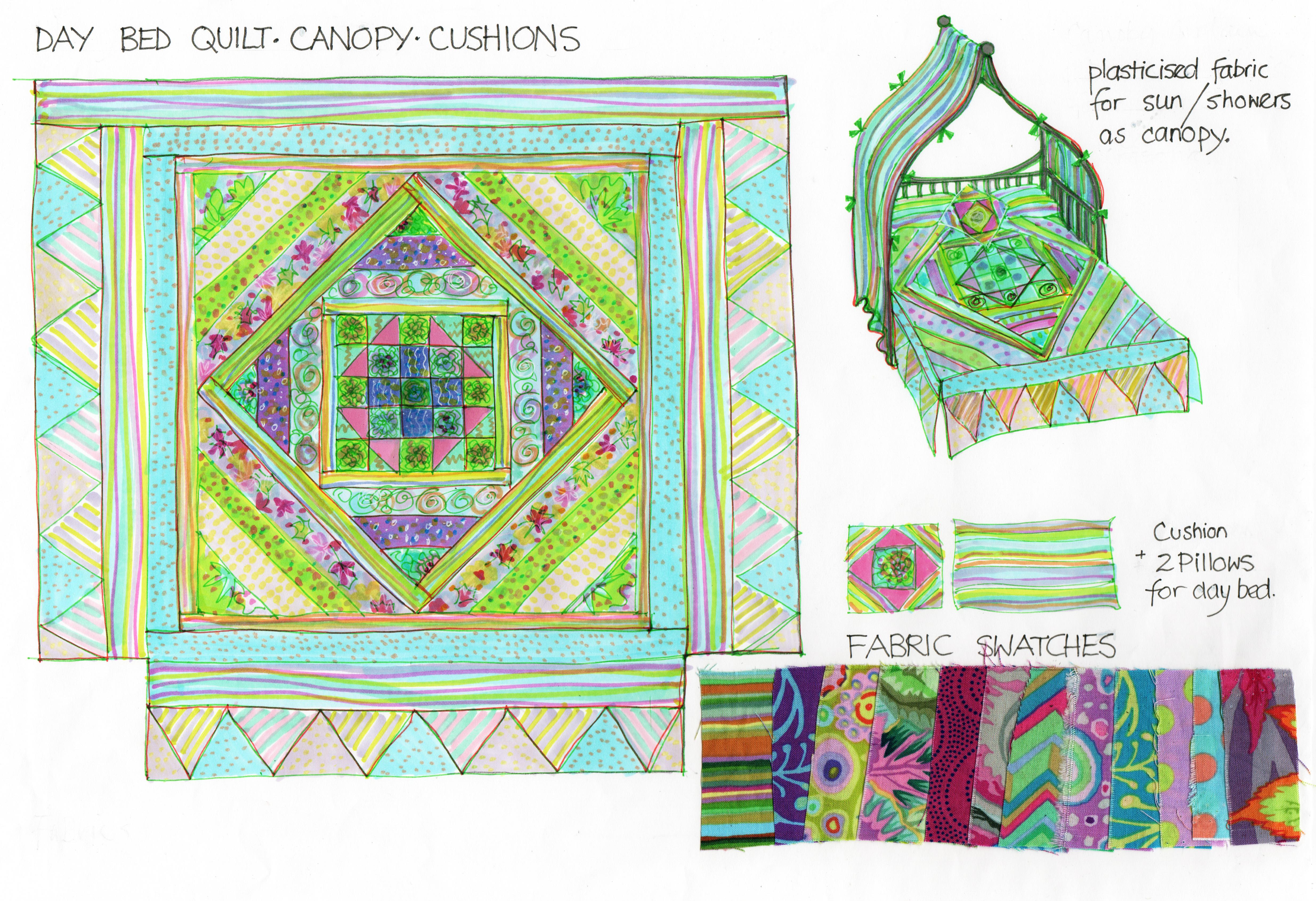 quilt fabrics illo
