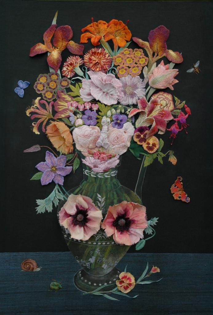 flower face, stump work, raised hand embroidery, inspiration Archimboldo